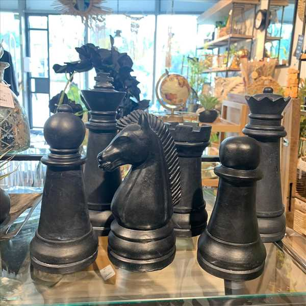 סט שחמט שחור מעץ 6 יחידות *SOLD OUT