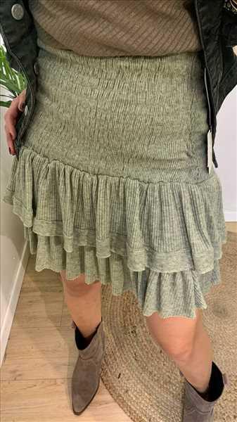 חצאית גומי סרוגה זית