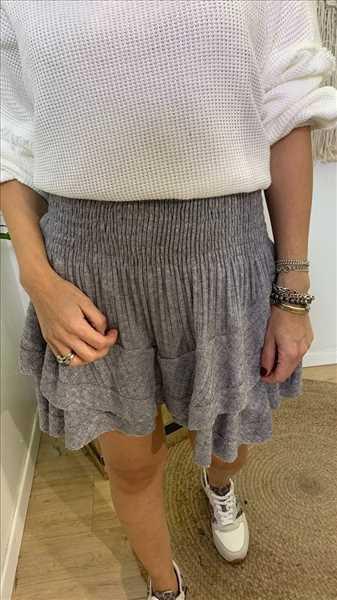 חצאית מכנסון סרוג צמות אפור