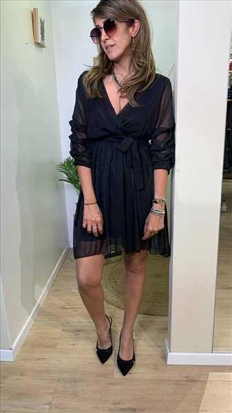 שמלת כיווץ שחור מנצנץ
