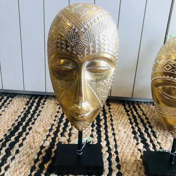 פסל מסיכה אפריקאית זהב גדול