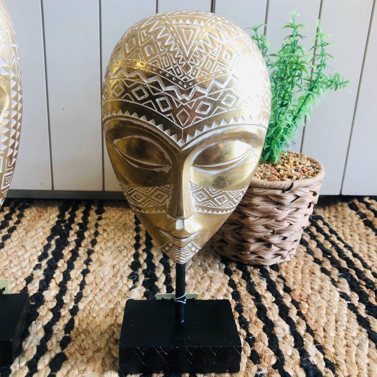 פסל מסיכה אפריקאית זהב קטן